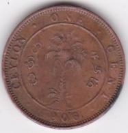 Ceylon One Cent 1906. Edward VII. Copper. KM# 102 - Sri Lanka