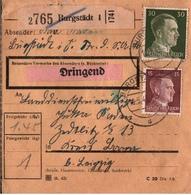 ! 1943 Paketkarte Deutsches Reich, Burgstädt Nach Zedtlitz Bei Borna - Allemagne
