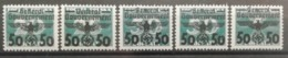 Pologne 1940 / Yvert N°51-55 / * / Timbres De Pologne Surchargés - 1939-44: 2ème Guerre Mondiale