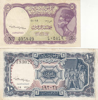 EGYPT 5 10 PT. PIASTRES 1952 P-174b 175b SIG/Kaissony Water Mrk Crown VF Series 12 - Egypt