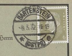 Ostpreussen Deutsches Reich Karte Mit Tagesstempel Bartenstein Ostpr. E 1932 Werbung - Deutschland