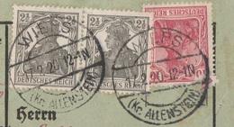 Ostpreussen Deutsches Reich Karte Mit Tagesstempel Wieps Kr Allenstein 1920 Werbung - Allemagne