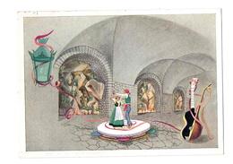 """Capri (Napoli): """"La Lanterna Verde"""" - Taverna Dell' Hotel San Michele - Anacapri. Cartolina Pubblicitaria Anni '40 - Napoli (Naples)"""