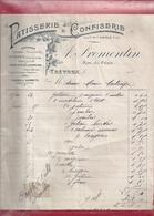 """Facture De """" A. FROMENTIN """" RUE DU PALAIS A TREVOUX . PATISSERIE & CONFISERIE - Alimentare"""