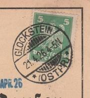 Ostpreussen Deutsches Reich Karte Mit Tagesstempel Glockstein Ostpr. Kr Rößel RB Allenstein 1926 - Deutschland