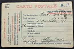 Carte De Franchise Militaire Impression Tricolore De Tours Gare > 1er Régiment D' Aérostiers Saint-Cyr-l'école Oct 1914 - Marcophilie (Lettres)