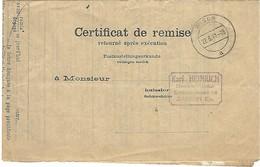 Wisch (Wisches) A 22.3.1941 - Cachet Allemand Sur Certificat De Remise Français D'avant-guerre - Marcophilie (Lettres)