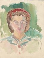 Dessin D'étude Robert Breitwieser Portrait Aquarelle De Simone Gravey Son épouse, Non Signé - Zeichnungen