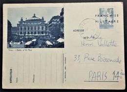 Carte De Franchise Militaire SIMILI-ENTIER POSTAL PARIS L'OPERA ET LA PLACE Simili-timbre TOUR EIFFEL . Obliérée - Poststempel (Briefe)