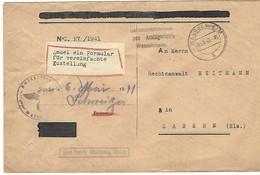 Wasselnheim A 5.5.1941 (Wasselonne) - Lettre En Franchise Du Tribunal Cantonal, Enveloppe Germanisée - Marcophilie (Lettres)