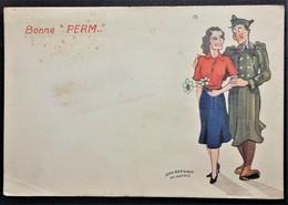 Carte De Franchise Militaire Illustrée BONNE PERM  Signée Jean Bernard Aux Armées - Marcophilie (Lettres)