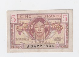 Billet De 5 FR. Du Trésor Français 1947 - Tesoro