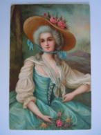 Femme Grand Chapeau Robe Blue Edit L. & B.-B. Pub Reclame Blue Band Margarine - Women