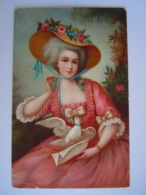 Femme Grand Chapeau Robe Rouge Edit L. & B.-B. Pub Reclame Blue Band Margarine - Frauen