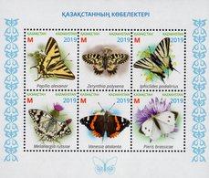 Kazakhstan - 2019 - Butterflies - Mint Souvenir Sheet With Varnish - Kazachstan