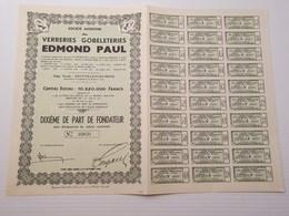 Titre Belge : Verreries Gobeleteries Edmond Paul à Neufvilles Les Mons - Shareholdings