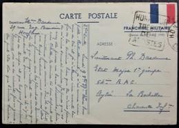 Carte De Franchise Militaire Illustrée Un Drapeau De Honfleur Vers 64e R.A.L. Aytré LA ROCHELLE Octobre 1939 - Marcophilie (Lettres)