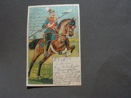 Reiter Mit Helm , Künstler AK 1902 , Ex Hanau Nach Giessen - Uniformen