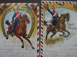 Reiter Mit Helm ,2 Er Lot  Künstler AK 1902 Und 1903  , Ex Hanau Nach Giessen Oder Ditersheim - Neujahr