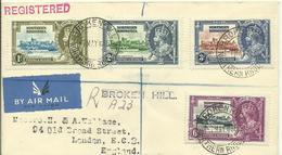1935  Silver Jubilee King George V  Complete Set On Registered Air Mail Letter From Broken Hill To London - Rhodésie Du Nord (...-1963)