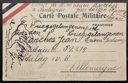 Carte De Franchise Militaire Bandeau Tricolore De Soulignac Vers Prisonnier De Guerre STALAG IV B Mühlberg Aout 1940 - Marcophilie (Lettres)