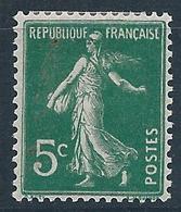 FRANCE - 1907 - Semeuse Fond Plein Sans Sol - YT N°137 - 5 C. Vert Foncé - Neuf* - TTB Etat - 1906-38 Sower - Cameo