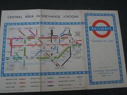 1954 Beck Underground Tube Map Used - Mappe