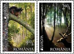 2011 Romania - Europa CEPT Forests MNH** MI 7207/7208 Deers, Trees, Squeerel, - 1948-.... Republiken