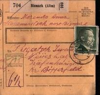 ! 1943 Paketkarte Deutsches Reich, Hohenwulsch, Bismark Altmark Nach Gräfenhainichen, Lager - Briefe U. Dokumente