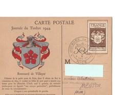 France FDC Journée Du Timbre 1944  Nice YT N°668  Illustration Armoiries De Renouard De Villayer - ....-1949