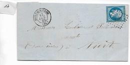 Lettre Napoléon 20 C Non Dentelé, Losange 2123 Montmorillon Vers Niort 1862 - 1849-1876: Période Classique