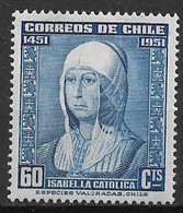 Chile 1952. Scott #264 (M) 500th Anniv. Of The Borth Of Queen Isabella I Of Spain ** Complet Issue - Chili