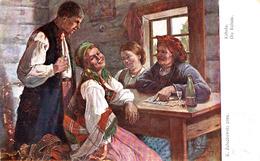 CARTOMANCIE / DIVINATION Avec CARTES à JOUER : CARTOMANCIENNE / FORTUNE TELLER With CARDS : KABALA ~ 1917 (ad603) - Spielkarten
