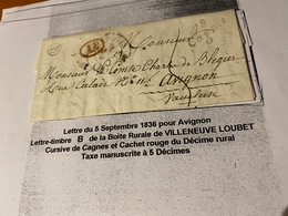 LETTRE DU 5/09/1836- POUR AVIGNON  - DESCRITIF COMPLET VOIRE SCAN DE LA LETTRE  ( Port Offert ) - Marcofilie (Brieven)