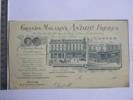 Entête De Facture - Grands Magasins ANDRE FRERES, Rue Du Mené & Place Saint Nicolas VANNES - 1900 – 1949