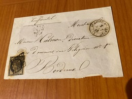LETTRE  ( Fragement ) - Affranchissement 20c Noir ( N 3 YT) -de Saint André De Cubzac à Bordeaux ( Port Offert ) - 1849-1876: Klassieke Periode
