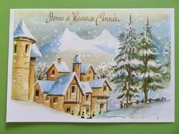 Carte Postale Bonne Et Heureuse Année - Le Village Et Les Villageois Avec Sapins Sous La Neige - Nouvel An