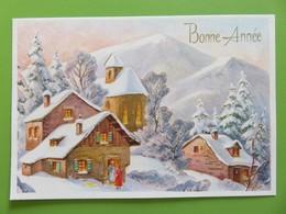 Carte Postale Bonne Année - Chalet Montagnard Et église Sous La Neige - Deux Dames Devant La Porte - Nouvel An