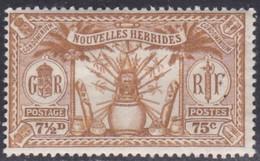New Hebrides, Scott #51, Mint Hinged, Idols, Issued 1925 - Leggenda Francese