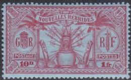 New Hebrides, Scott #52, Mint Hinged, Idols, Issued 1925 - Leggenda Francese