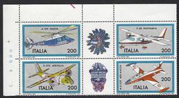 Italia 1981; Costruzioni Aeronautiche, 1° Serie; Serie Completa In Blocco Con Appendici: Angolo Superiore. - 6. 1946-.. Repubblica