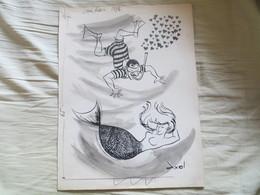 Beau Dessin De Presse ORIGINAL Humour Femme Sirène Et Pêcheur Homme Grenouille - Signé AXEL Dessinateur De Presse - Dessins