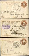 Mexico 3 Postal Cards MEPSI #PC108 Used To BELGIUM And ITALY 1901-02 - Messico