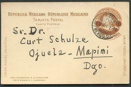 Mexico Postal Card MEPSI #PC110 Used To OJUELA MINE MAPIMI Durango 1903 - Messico