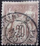 FRANCE Y&T N°67 Rare. Sage 20c. Brun-lilas. Oblitéré CàD Des Imprimés 2 Paris - 1876-1878 Sage (Type I)