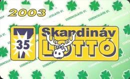 GAMBLING LOTTERY FOOTBALL POOL FOUR LEAF CLOVER SCANDINAVIAN DEER ROE ANIMAL CALENDAR * Szerencsejatek 2003 8 * Hungary - Kalenders