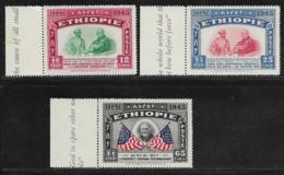 Ethiopia Scott # 278-80 Mint Hinged Selassie, Roosevelt, Flags, 1947, With Selvege - Ethiopia