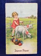 """Embossed-gaufrée--""""Fillette Promène Ses Moutons""""-(my Ref 627) - Pâques"""