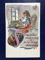 """Embossed-gaufrée--""""Jeune Femme Peint Des Oeufs De Pâques""""-Illustrateur Tchèque-(my Ref 629) - Pâques"""
