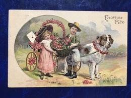 "Embossed-Gaufrée--""Attelage Saint Bernard-enfants-panier De Fleurs""-(my Ref 649) - Christmas"